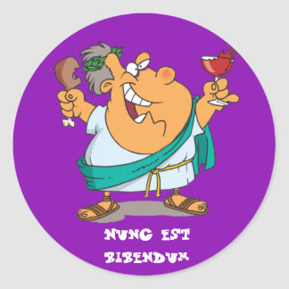 Latin: Nunc est bibendum Round Stickers