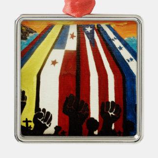 Latin Pride! Silver-Colored Square Decoration