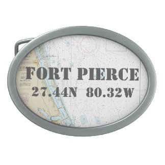 Latitude Longitude Fort Pierce FL Nautical Chart Oval Belt Buckles