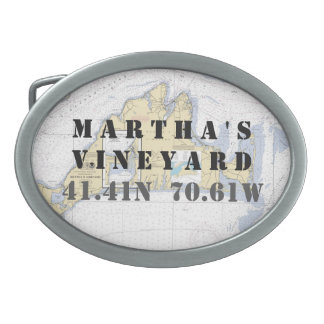 Latitude Longitude Martha's Vineyard Nautical Belt Buckles