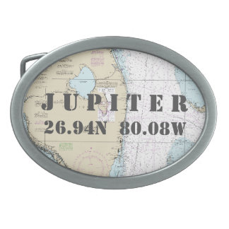 Latitude Longitude South Florida Nautical Chart Belt Buckles