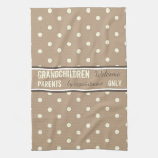 Latte polka dots Kitchen Grandparents Tea Towel