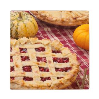 Lattice Cherry Pie And Apple Pie Wood Coaster