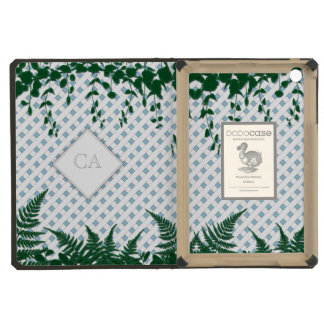Lattice Ferns Vines Monogram blue white green Dodo iPad Mini Cover