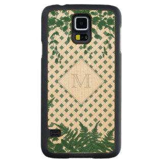 Lattice Ferns Vines Monogram green Galaxy maple Carved® Maple Galaxy S5 Slim Case