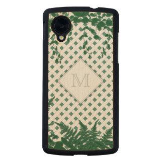 Lattice Ferns Vines Monogram green Nexus maple Carved® Maple Nexus 5 Slim Case