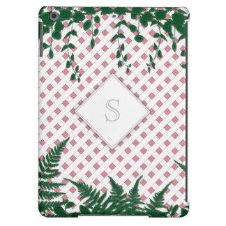 Lattice Ferns Vines Monogram pink white iPad Air iPad Air Cover