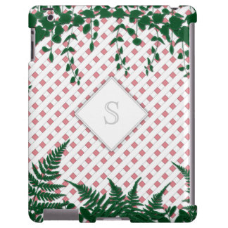 Lattice Ferns Vines Monogram pink white iPad