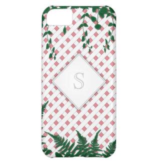 Lattice Ferns Vines Monogram pink white iPhone 5C iPhone 5C Cover