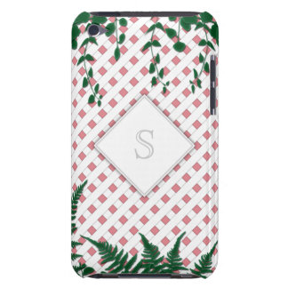 Lattice Ferns Vines Monogram pink white iPod Touch iPod Touch Cover