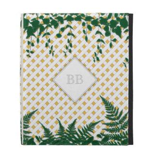 Lattice Ferns Vines Monogram yellow white iPad iPad Folio Cases