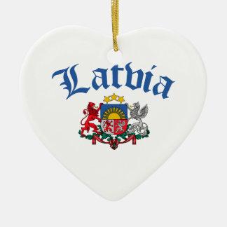 Latvia Coat of Arms Ceramic Heart Decoration