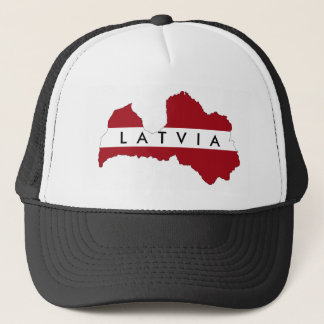 latvia country flag map shape symbol trucker hat