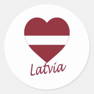 Latvia Flag Heart Classic Round Sticker