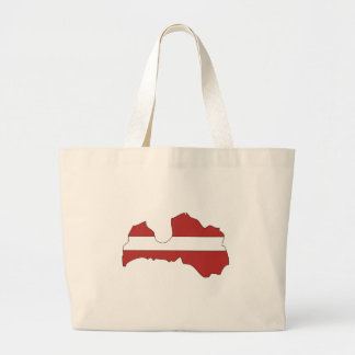 Latvia flag map large tote bag