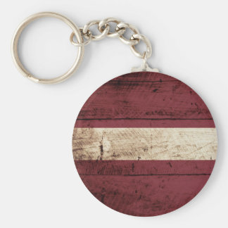 Latvia Flag on Old Wood Grain Key Ring