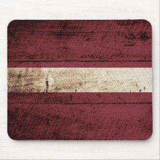 Latvia Flag on Old Wood Grain Mouse Pad