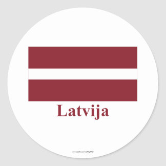 Latvia Flag with Name in Latvian Classic Round Sticker