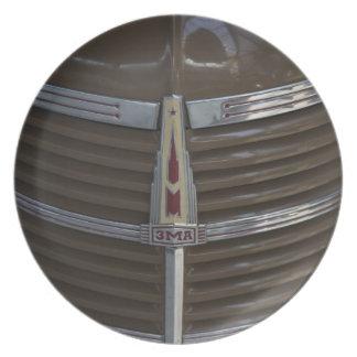 Latvia, Riga, Riga Motor Museum, hood ornament Plate