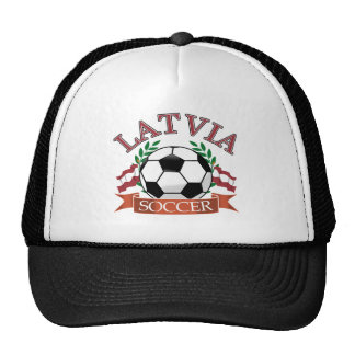 Latvia soccer ball designs mesh hats