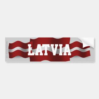 Latvia Waving Flag Bumper Sticker