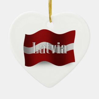 Latvia Waving Flag Christmas Ornament