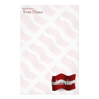 Latvia Waving Flag Custom Stationery