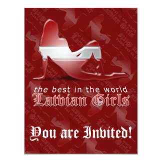 Latvian Girl Silhouette Flag 11 Cm X 14 Cm Invitation Card