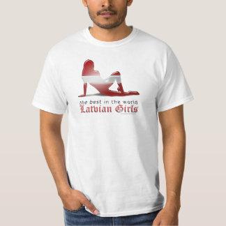 Latvian Girl Silhouette Flag T-Shirt
