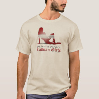 Latvian Girl Silhouette Flag T-Shirt