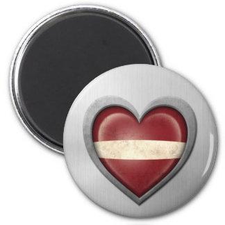 Latvian Heart Flag Stainless Steel Effect Magnet