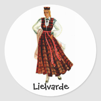 Latvian regional costume for Lielvarde Classic Round Sticker
