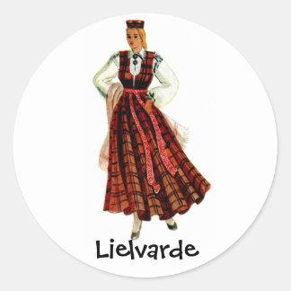 Latvian regional costume for Lielvarde Round Sticker