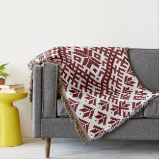 Latvian traditional Auseklis design Throw Blanket
