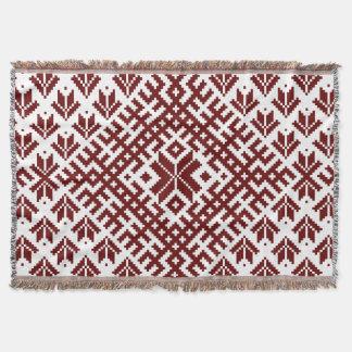 Latvian traditional Auseklis design Throw Blanket