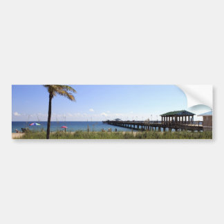 Lauderdale-by-the-Sea, Florida Beach and Pier Bumper Sticker