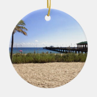 Lauderdale-by-the-Sea, Florida Beach and Pier Christmas Ornament