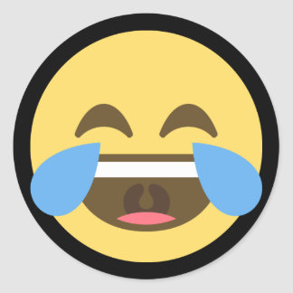 Laugh and Cry Emoji Classic Round Sticker