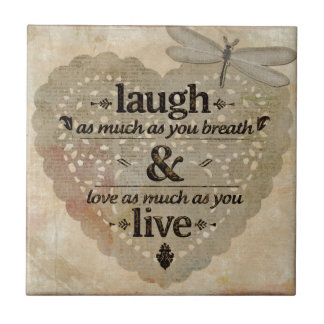 Laugh As Much AsYou Breathe Mindfulness Quote Gift Tile
