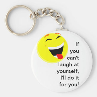 Laugh at yourself basic round button key ring
