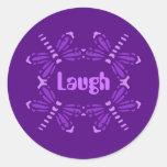 Laugh, dragonflies in purple & pink round sticker