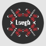 Laugh, dragonflies in red & white on black stickers