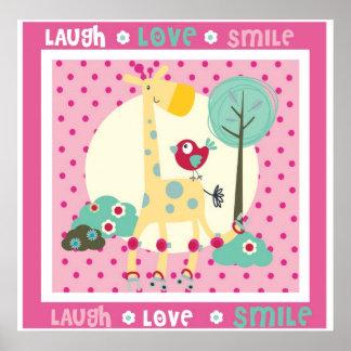 laugh, love, smile wall decor poster