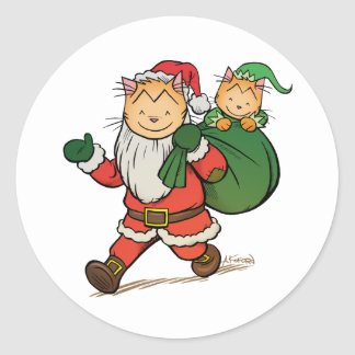 Laugh-Out-Loud Claus Round Sticker