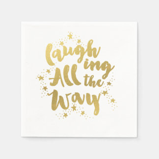 Laughing All the Way Golden Holiday Napkins Paper Napkins