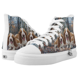 Laughing Basset Hounds In The Woods High Tops