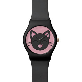 Laughing Black Cat Watch