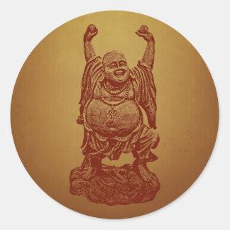 Laughing Buddha (dark red) Round Sticker