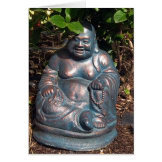 Laughing Buddha enjoying Spring sun Greeting Card