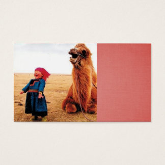 laughing child and her laughing camel business card